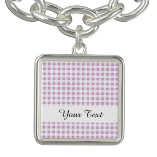 Motif blanc lilas de guingan bracelet avec breloques