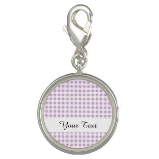 Motif blanc lilas de guingan breloque avec photo