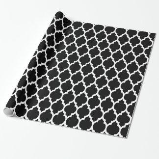 Motif blanc noir #4 de Quatrefoil de Marocain Papier Cadeau Noël