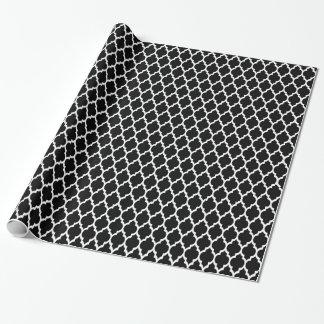 Motif blanc noir #4 de Quatrefoil de Marocain Papiers Cadeaux Noël