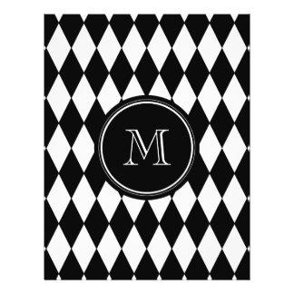 Motif blanc noir de harlequin, votre initiale prospectus 21,6 cm x 24,94 cm