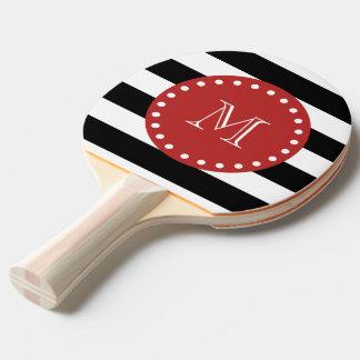 Motif blanc noir de rayures, monogramme rouge raquette de ping pong