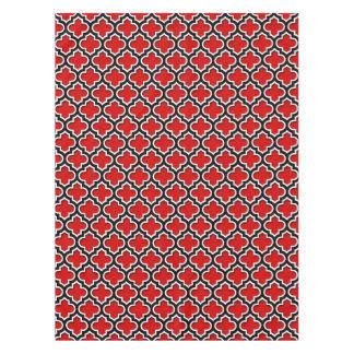 Motif blanc noir rouge #5DS de Quatrefoil de Nappe