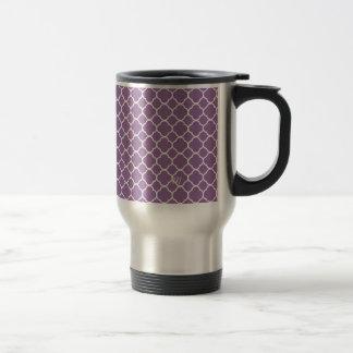 Motif blanc pourpre mou à la mode de quatrefoil mug de voyage