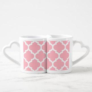 Motif blanc rose #5 de Quatrefoil de Marocain Mug