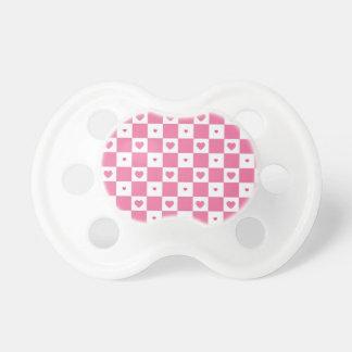 Motif blanc rose Girly de contrôleur de coeurs Tétines