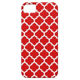 Motif blanc rouge #5 de Quatrefoil de Marocain Coque Case-Mate iPhone 5