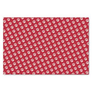 Motif blanc rouge animal d'empreinte de patte de papier mousseline