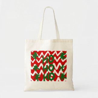 Motif blanc rouge de Noël de Chevron Ho Ho Ho Sacs En Toile