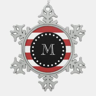 Motif blanc rouge de rayures, monogramme noir ornement flocon de neige pewter