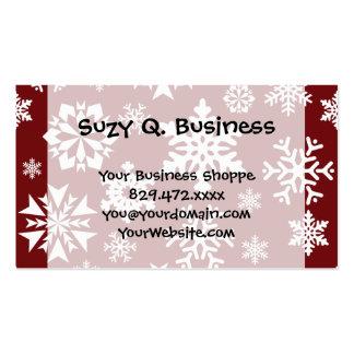 Motif blanc rouge de vacances de Noël de flocons Carte De Visite Standard