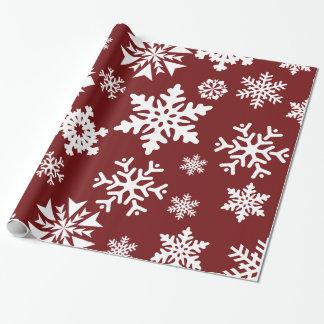 Motif blanc rouge de vacances de Noël de flocons Papier Cadeau Noël