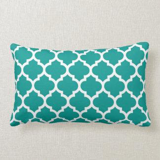 Motif blanc turquoise foncé #5 de Quatrefoil de Coussin Rectangle