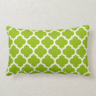 Motif blanc vert pomme #5 de Quatrefoil de Coussin Rectangle