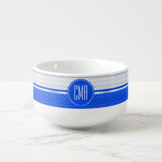 Motif bleu blanc et lumineux de monogramme de pois mug à soupe