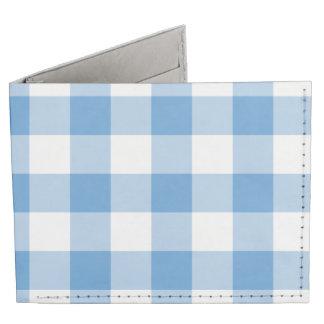 Motif bleu-clair et blanc de guingan portefeuille 2 volets tyvek®