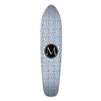 Motif bleu classique de tournesol de monogramme plateau de skate