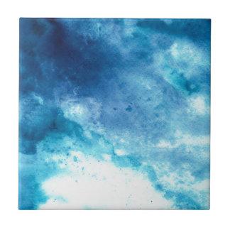 Motif bleu d'aquarelle d'éclaboussure de tache petit carreau carré