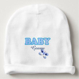 Motif bleu de bébé de papillon de guingan bonnet de bébé