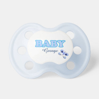 Motif bleu de bébé de papillon de guingan tétines