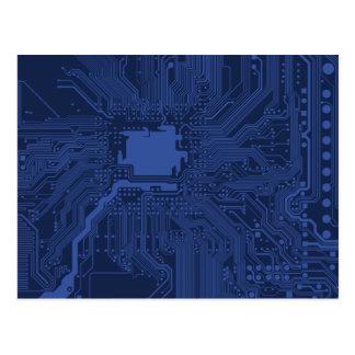 Motif bleu de carte mère de geek cartes postales