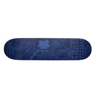 Motif bleu de carte mère de geek plateaux de planche à roulettes