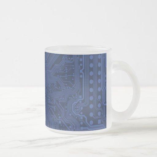 Motif bleu de carte mère de geek tasse
