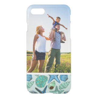 Motif bleu de coquillages et d'étoiles de mer de coque iPhone 8/7