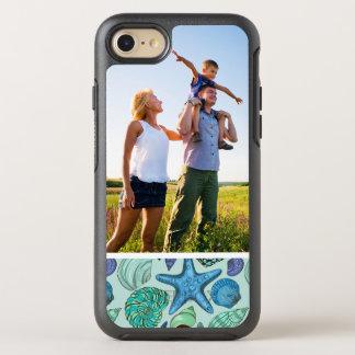 Motif bleu de coquillages et d'étoiles de mer de coque otterbox symmetry pour iPhone 7