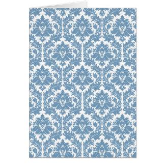 Motif bleu de damassé de crépuscule cartes