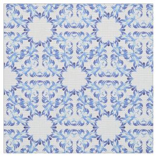 motif bleu de damassé tissu
