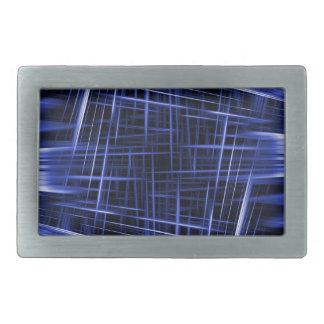 Motif bleu de faisceaux lumineux boucles de ceinture rectangulaires