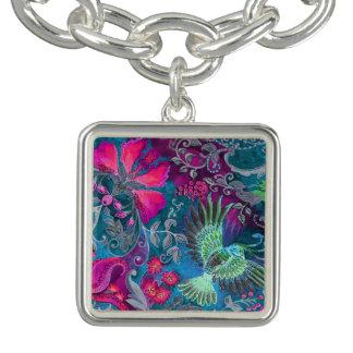 Motif bleu de lux d'oiseau de jardin floral de bracelet