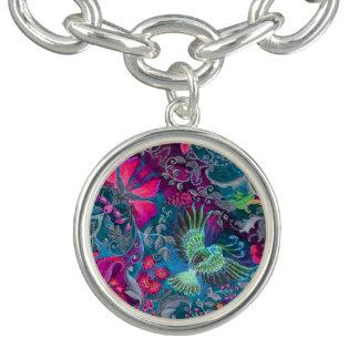 Motif bleu de lux d'oiseau de jardin floral de bracelets