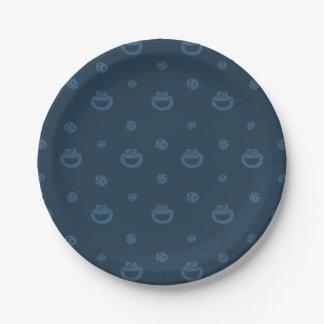 Motif bleu de monstre de biscuit et de marine de assiettes en papier