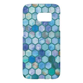 Motif bleu de nid d'abeilles d'Aqua de luxe Coque Samsung Galaxy S7