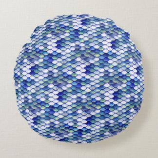 Motif bleu de peau de sirène coussins ronds