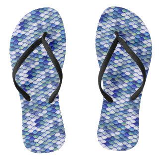 Motif bleu de peau de sirène tongs