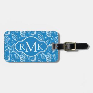 Motif bleu de plage de monogramme étiquette à bagage