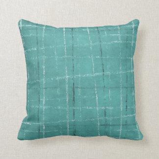 Motif bleu de plaid d'Aqua Coussins Carrés
