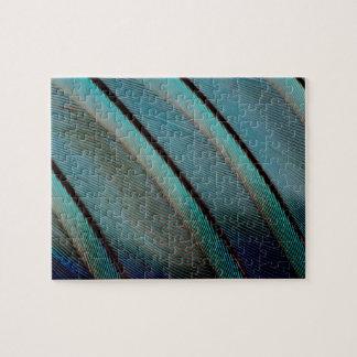 Motif bleu de plume puzzle