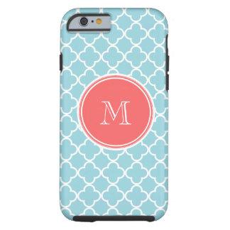 Motif bleu de Quatrefoil, monogramme de corail Coque Tough iPhone 6