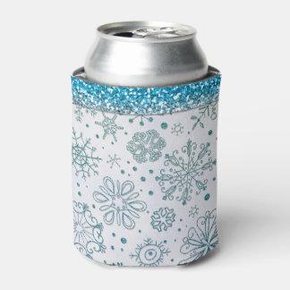 Motif bleu de scintillement de flocon de neige rafraichisseur de cannettes