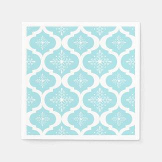 Motif bleu de trellis de flocons de neige d'Aqua Serviette En Papier