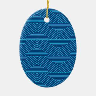 motif bleu de triangle ornement ovale en céramique