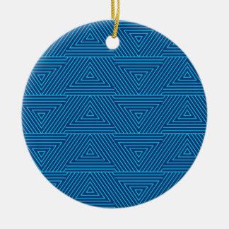 motif bleu de triangle ornement rond en céramique