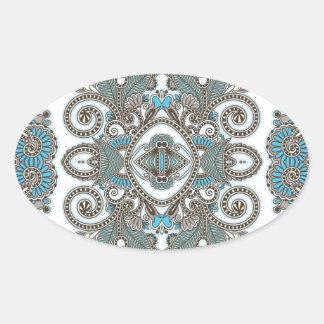 Motif bleu décoratif sticker ovale