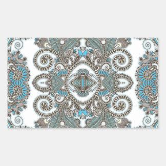 Motif bleu décoratif sticker rectangulaire