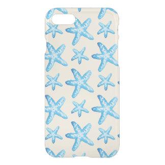 Motif bleu d'étoiles de mer d'aquarelle coque iPhone 7