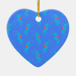 Motif bleu d'hippocampe ornement cœur en céramique